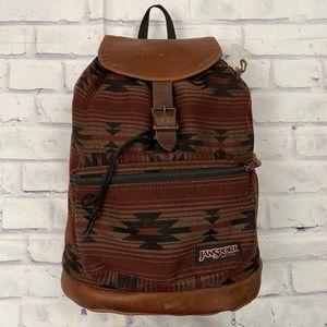 Vintage Jansport Indian Blanket Leather Bottom Bag